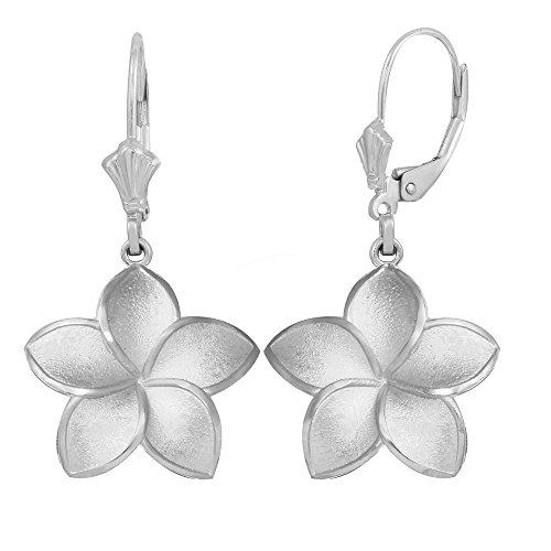 Matte Finish 925 Sterling Silver Hawaiian Flower Plumeria Dangle Earrings (Large)