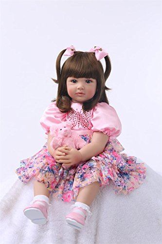 Pursue Baby Beautiful Soft Body Real Life Princess Girl Doll Ann Weighted for Cuddle, 24 Inch Lifelike Poseable Reborn Toddler Doll with Long Hair (Collectible Toddler Dolls)