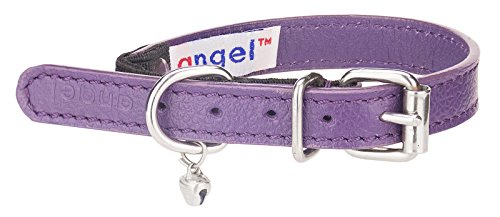 Image of Angel Pet Supplies Alpine Elastic Break-Away Leather Cat Collar, 12 by 1/2-Inch, Orchid Purple