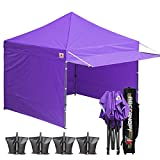 ABCCANOPY (18+Colors 10×10 Easy Pop up Canopy Tent Instant Shelter Commercial Portable Market Canopy Matching Sidewalls, Weight Bags, Roller Bag,BOUNS Canopy Awning (Purple) Review