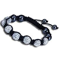 Shamballa Bracelet Adjustable Length with White Crystal Beads