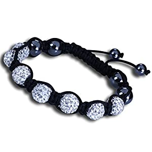Shamballa Bracelet Adjustable Length with White Crystal Beads