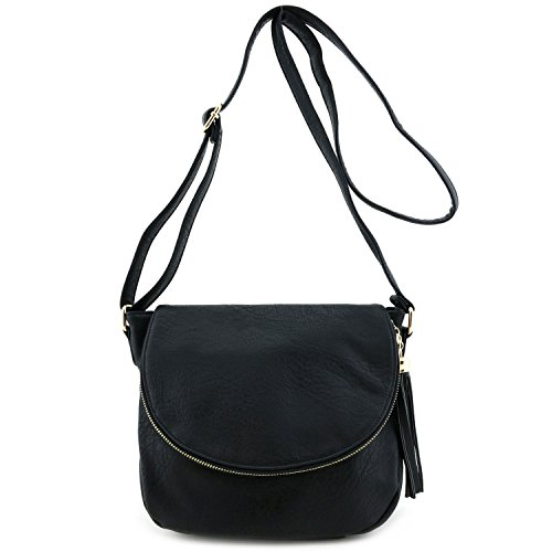 Tassel Accent Crossbody Bag with Flap Top Black (Cross Body Flap Bag)