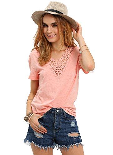 Floerns Women's Pink Crochet V Neck Short Sleeve T-shirt Medium Pink