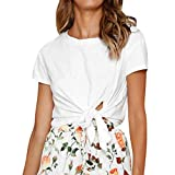 Women's Tops Casual Round Neck Short Sleeves T Shirts Casual Loose Bow Knot Blouse (M, White)