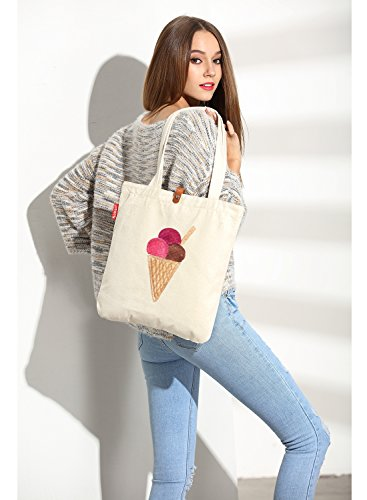 So'each Women's Ice Cream Graphic Top Handle Canvas Tote Shopper Bag