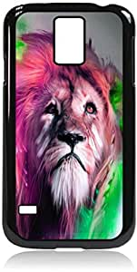 Colorized Lion- Case for the Galaxy S5 i9600-Hard Black Plastic Outer Shell with Inner Soft Black Rubber Lining