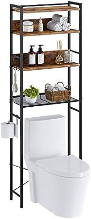 Rolanstar Bathroom Space Saver, 4-Tier Over The Toilet Storage Rack, Wooden Freestanding Bathroom Organizer, M