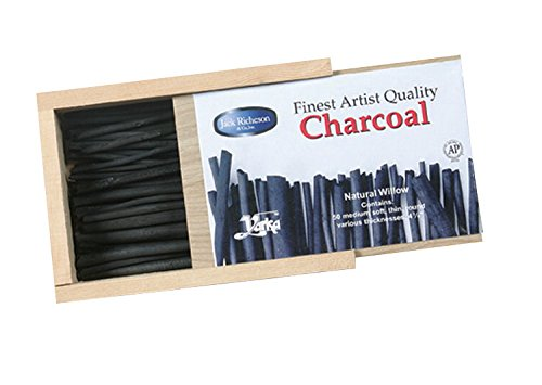 Yarka Natural Willow Non-Toxic Medium Soft Round Thin Charcoal Stick, 4 in, Black, Pack of 50