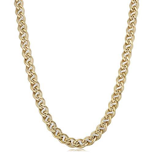 - Kooljewelry 14k Two-tone Gold Wave Double Oval Link Necklace (6.4 mm, 18 inch)