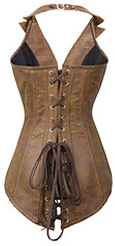 0147735d4 Charmian Women s Steampunk Goth Spiral Steel Boned Halter Faux Leather Vest  Zip Top Rock Biker Corset