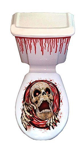 Halloween Skull Skeleton Toilet Grabber Seat Cover & Cistern Scary Scene Setter Decorations Davies Products