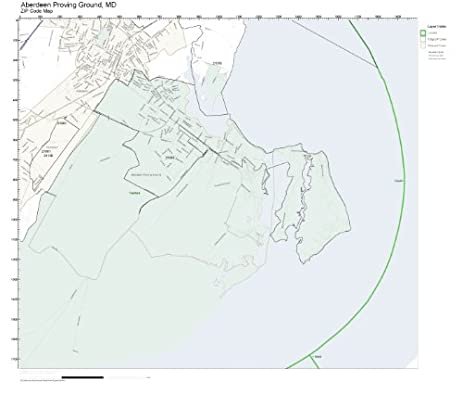 Amazon.com: ZIP Code Wall Map of Aberdeen Proving Ground, MD ZIP ...