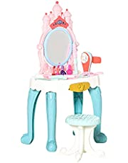 Qaba 20 PCS Kids Vanity Dressing Table Play Set, Musical Beauty Kit Pretend Toy, w/ Magic Glamour Princess Mirror, Lights, Make Up Desk, Stool, for 3-4 Years Old White+Pink