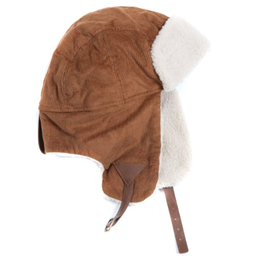 Accessoryo Women's Cotton Corded Plain Trapper Hat with Sherpa Lining One Size Caramel