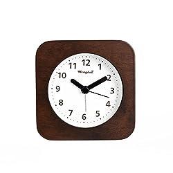 Henghui Nature Wood Triangle Non Ticking Analog Quartz Alarm Clock with Nightlight, Snooze and Ascending Sound Alarm (Brown White)