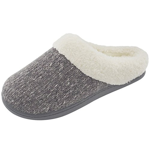 Image of Women's Cozy Woolen Yarn Knitted Slippers Memory Foam Plush Lining Slip-on House Shoes w/Anti-Slip Sole, Indoor/Outdoor (Medium / 7-8 B(M) US, Gray)