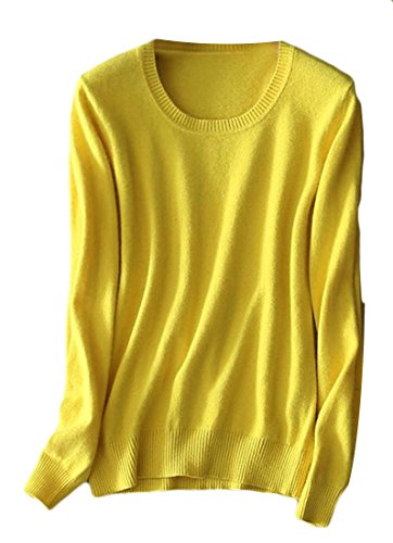 Short Sleeve V-neck Cashmere Sweater - Cromoncent Womens Cozy Crewneck/V-neck Knit Pullover Sweater Tops Yellow L