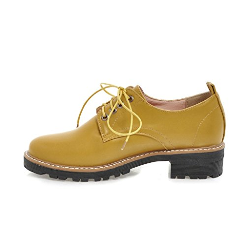 Show Shine Womens Chunky Heel Lace Up Oxfords Shoes Yellow ankSH1WE8X