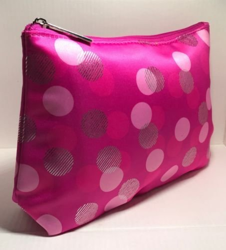 CLINIQUE Cosmetic Makeup Bag PINK & SILVER POLKA DOT PRINT - BRAND (Clinique Pink Cosmetic)