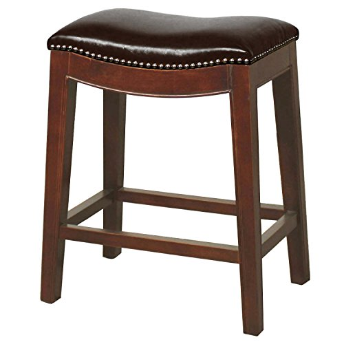 Elmo Bonded Leather Counter Stool,Cinnamon Brown Legs,Saddle - Bonded Leather Stool