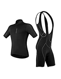 MagiDeal Men's Cycling Jersey and Bib Shorts Set, Bicycle Bike Short Sleeve Jersey Clothing Suit, Padded Breathable Quick Dry Non Slip for Mountain Bike Road Bike MTB BMX Racing