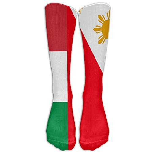 Jeffostie Philippines Italy Flag Unisex Long Socks Crew Athletic Knee High Stockings by Jeffostie