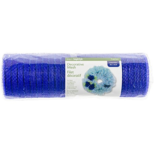 FloraCraft SimpleStyle 10 inch Decorative Mesh with Mettalic Strands, Cobalt Blue