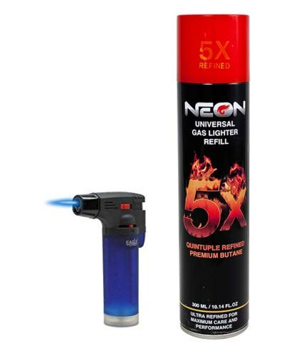 Big Eagle Torch Lighter + NEON 5X Butane Refill Fuel Fluid 10oz Can Bundle Combo