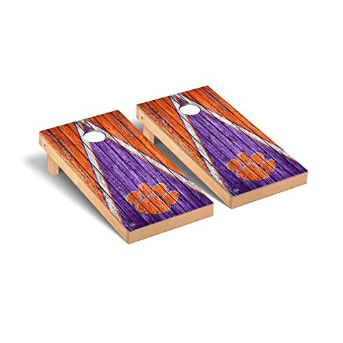 Victory Tailgate Regulation Collegiate NCAA Weathered Triangle Series Cornhole Board Set - 2 Boards, 8 Bags - Clemson Tigers Clemson Tigers Tailgate Toss