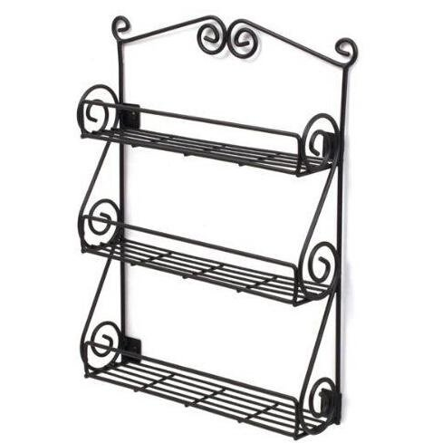 Dazone Metal 3-tiers Scroll Spice Wall Rack Organizer Kitche