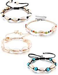 096b5f7a4 4 Pieces Natural Cowrie Shell Ankle Bracelets Seashell Crochet Ankle  Bracelet Handmade Boho Anklet Jewelry Adjustable