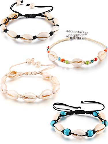 meekoo 4 Pieces Natural Cowrie Shell Ankle Bracelets Seashell Crochet Ankle Bracelet Handmade Boho Anklet Jewelry Adjustable Shell Bead Anklet for Women Girls Hawaii Beach Parties (Style B)