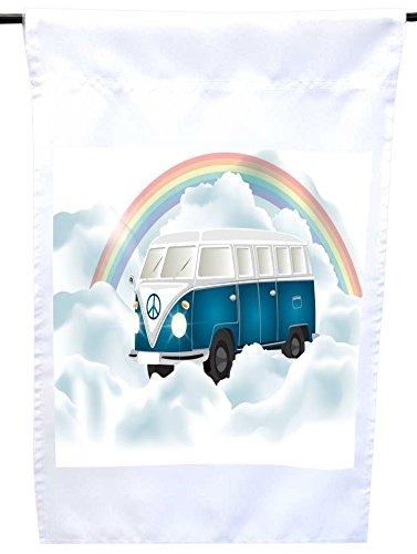 Rikki Knight Retro Blue Volkswagen in Heaven House or Garden Flag, 12 x 18-Inch Flag Size with 11 x 11-Inch Image