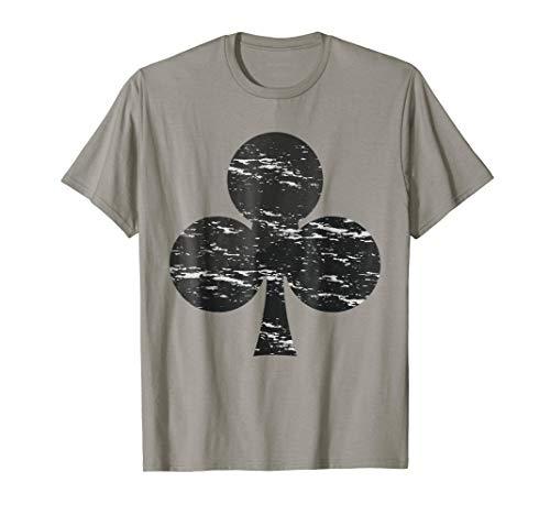 Clubs Symbol T-Shirt Poker Pro Lucky Players Winner Costume -