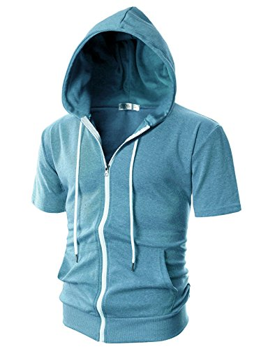 OHOO Mens Slim Fit Short Sleeve Lightweight Zip-up Hoodie with Kanga Pocket/DCF007-SKYBLUE-L