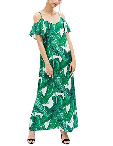 MODETREND Mujer Vestido Fiesta Largo Manga Corta de Sin Tirantes Vestido Tallas Grandes Verano Verde