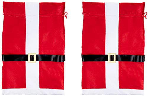 Santa Gift Sack - 3-Pack Large Christmas Toy Presents Bag with Drawstring, Santa Claus Suit Design, Red, White and Black, 19.5 x 29.5 Inches -