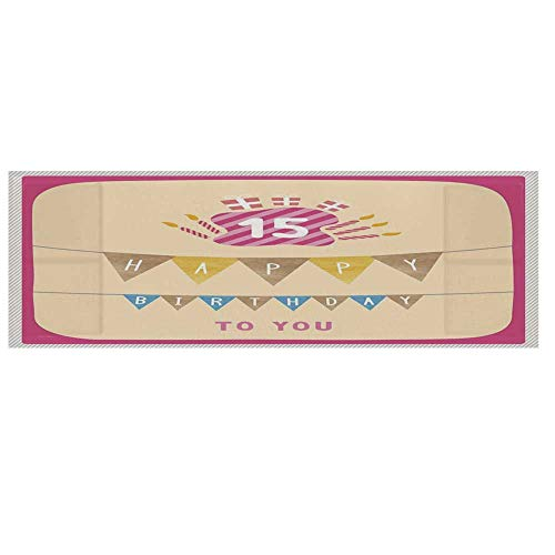 "15th Birthday Decorations Microwave Oven Cover,Pastel Colored Framework Flags Presents and Candles Greeting Cover for Kitchen,36""L x 12""W"