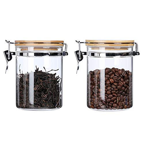 - Clear Borosilicate Glass Storage Canisters Jars with Airtight Locking Clamp Bamboo Lids ,Air Tight Food Storage Containers For Kitchen,Sugar Loose Tea Coffee Beans Cookies Jars,27 Floz 2-Piece Set