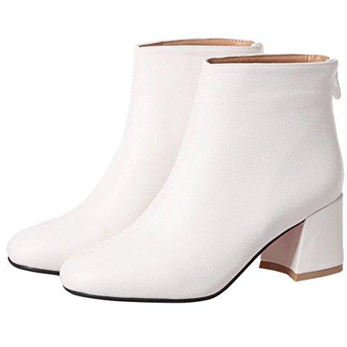AIYOUMEI Damen Winter Blockabsatz Stiefeletten mit Reißverschluss und 6cm Absatz Elegant Bequem Kurzschaft Stiefel Weiß