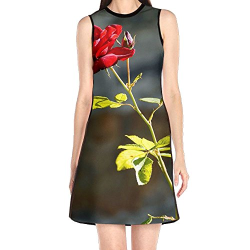 Rose Free Land - Rose Red Red Flowers Bloom Women's Fashion Sleeveless Mini Dress Print Party Dress Tank Dress Rose Print Silk Dress