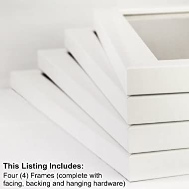 Craig Frames 23247812 8.5 by 11-Inch Picture Frame 4-Piece Set, Smooth Finish, 1-Inch Wide, White