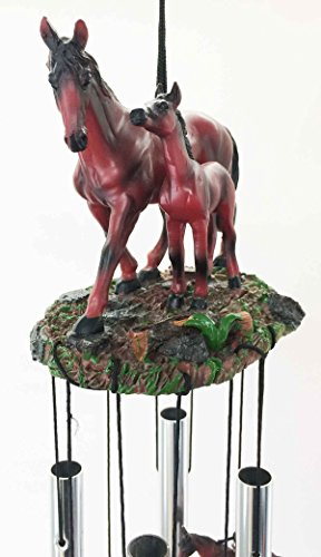 Farm Countryside Brown Horse With Foal Resonant Relaxing Wind Chime Garden Patio Decor