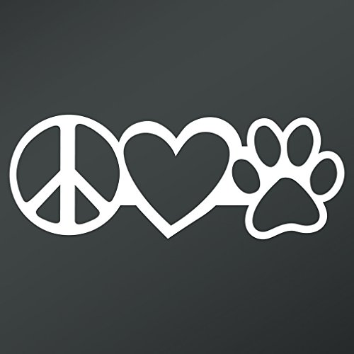 (Peace Love Dog Paw Vinyl Decal Sticker | Cars Trucks Vans Walls Laptops Cups | White | 7.5 X 2.8 Inch | KCD1669)