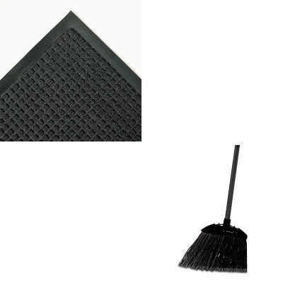 KITCWNSSR035CHRCP637400BLA - Value Kit - Super Soaker Wiper Mat with Gripper Bottom, 34 x 58, Charcoal (CWNSSR035CH) and Rubbermaid-Black Brute Angled Lobby Broom (RCP637400BLA) by Crown