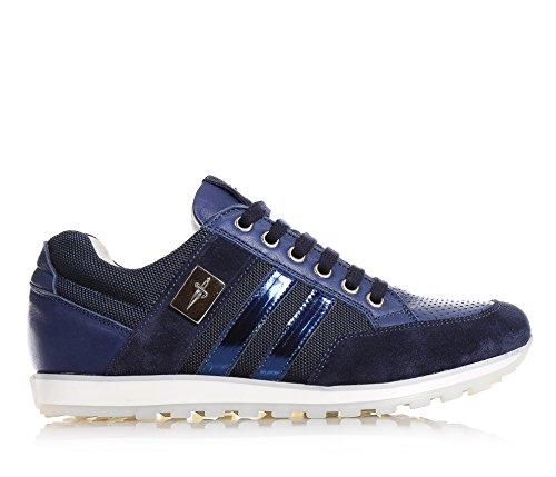 CESARE PACIOTTI - Blaue Schuhe mit Schnürsenkel, aus Stoff und Leder, Jungen