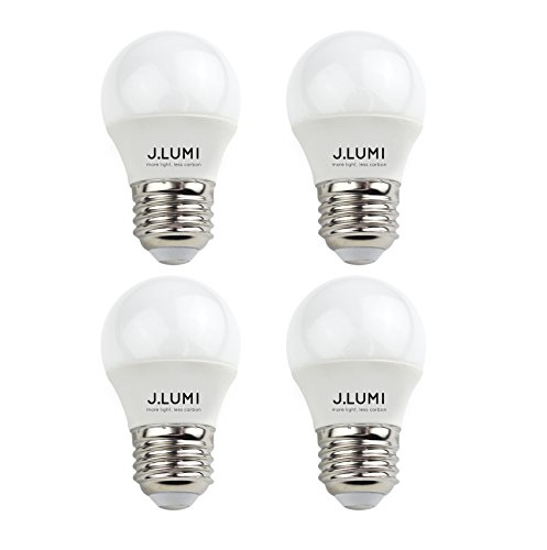 J.LUMI BPC45034 LED Light Bulb 3W, A15 Bulb, G45 Bulb Shape, Night Light Bulbs, Appliance Bulb, Fridge Bulbs, 25W Incandescent, E26 Medium Base, 3000K Soft White, Non-Dimmable (Pack of 4)