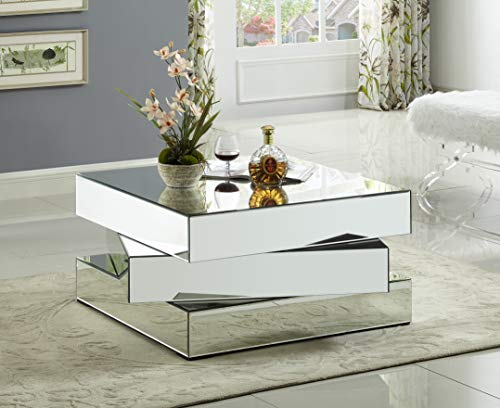 """Meridian Furniture Haven Collection Modern   Contemporary Mirrored Coffee Table Featuring a Bold Geometric Design, 39.5"""" W x 39.5"""" D x 18.5"""" H"""