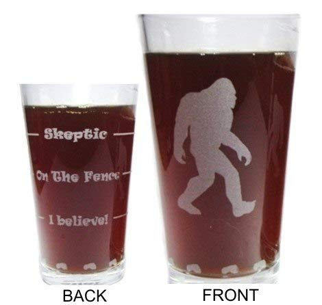 Bigfoot Sasquatch Drink Till You Believe - Engraved Beer Glass - 16 oz - Permanently Etched 360 Degrees around Glass - Fun & Unique Gift!ique Gift!